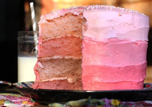 Support Pink with Pink Ombre Cake