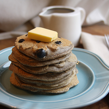 Blueberry Buckwheat Blender Pancakes