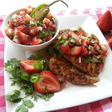 Grilled Chicken Tenderloins with Fresh Strawberry, Jalapeño, Cilantro Citrus Salsa