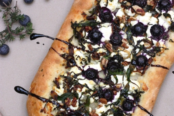 Blueberry goat cheese pizza