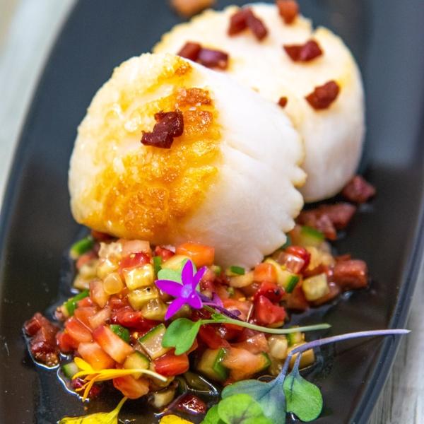 Seared Scallops with Spicy Black Garlic Shoyu Strawberry