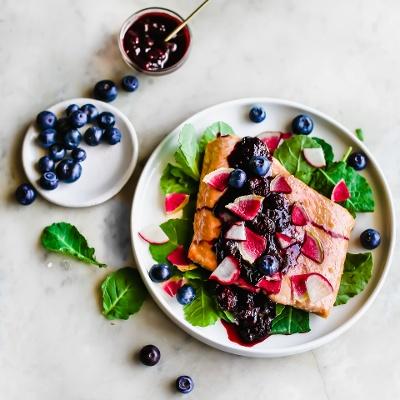 Tender Roasted Salmon with a Silky Blueberry Glaze 1-1-1