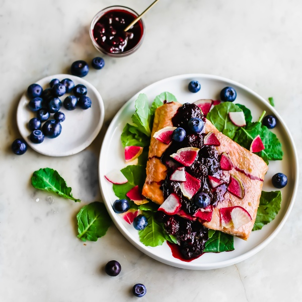 Tender Roasted Salmon with a Silky Blueberry Glaze 1-1-2