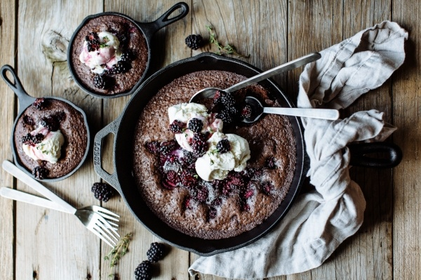 Dark Chocolate and Blackberry Skillet Brownies