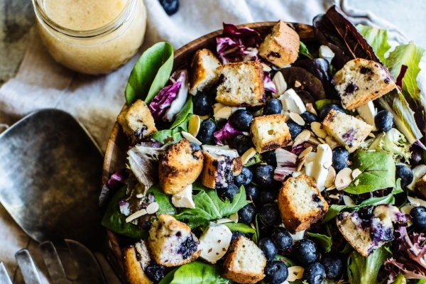 Almond and Blueberry Salad with Blueberry Muffin Croutons