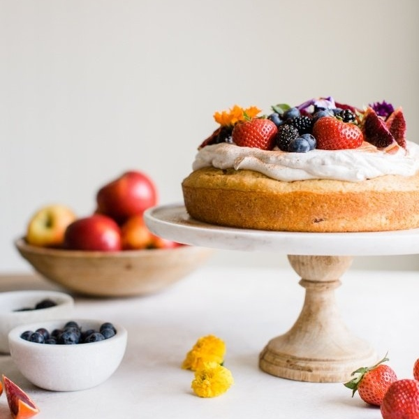 Cinnamon Apple Tres Leches with Whipped Cream and Berries