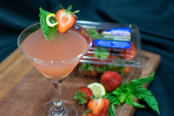 Strawberry Basil Limoncello Martini