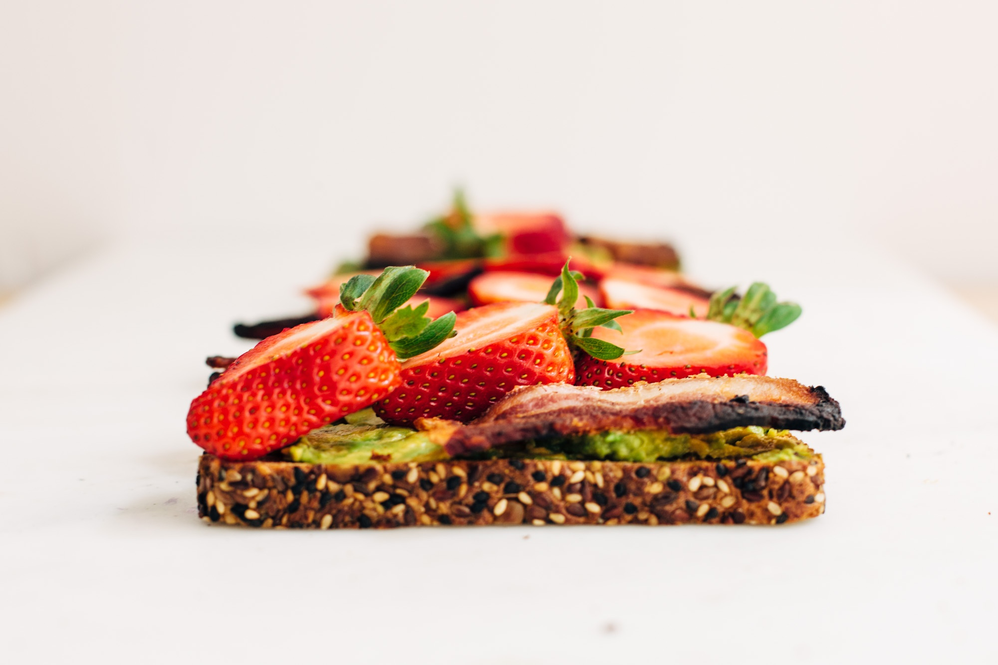 Avocado Toast with Strawberries and Bacon
