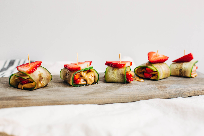 Strawberry + Cucumber Peanut Butter Roll
