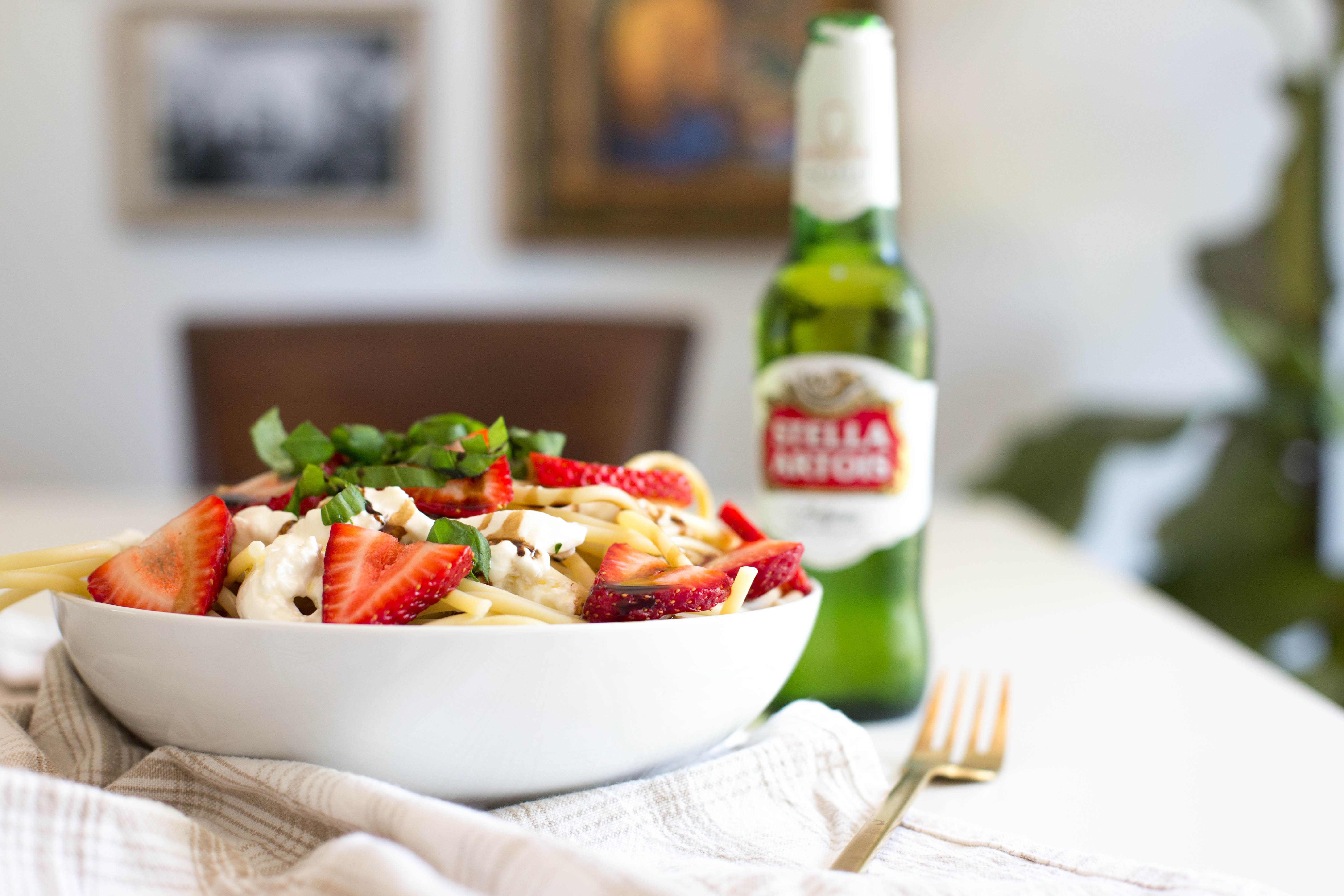 Summer Strawberry Pasta with Balsamic Glaze, Basil and Burrata