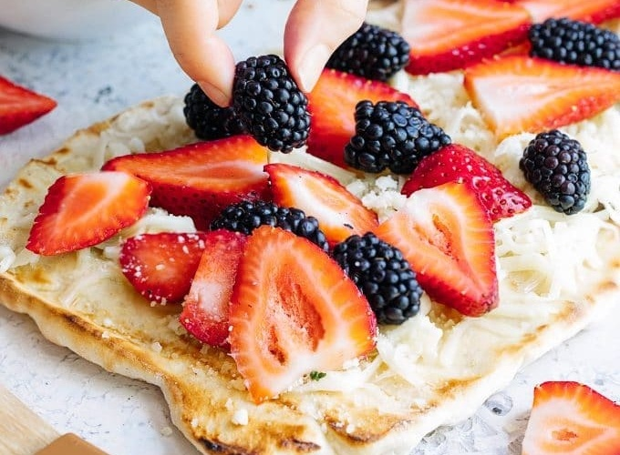 Grilled Flatbread Pizza with Berries and Fontina