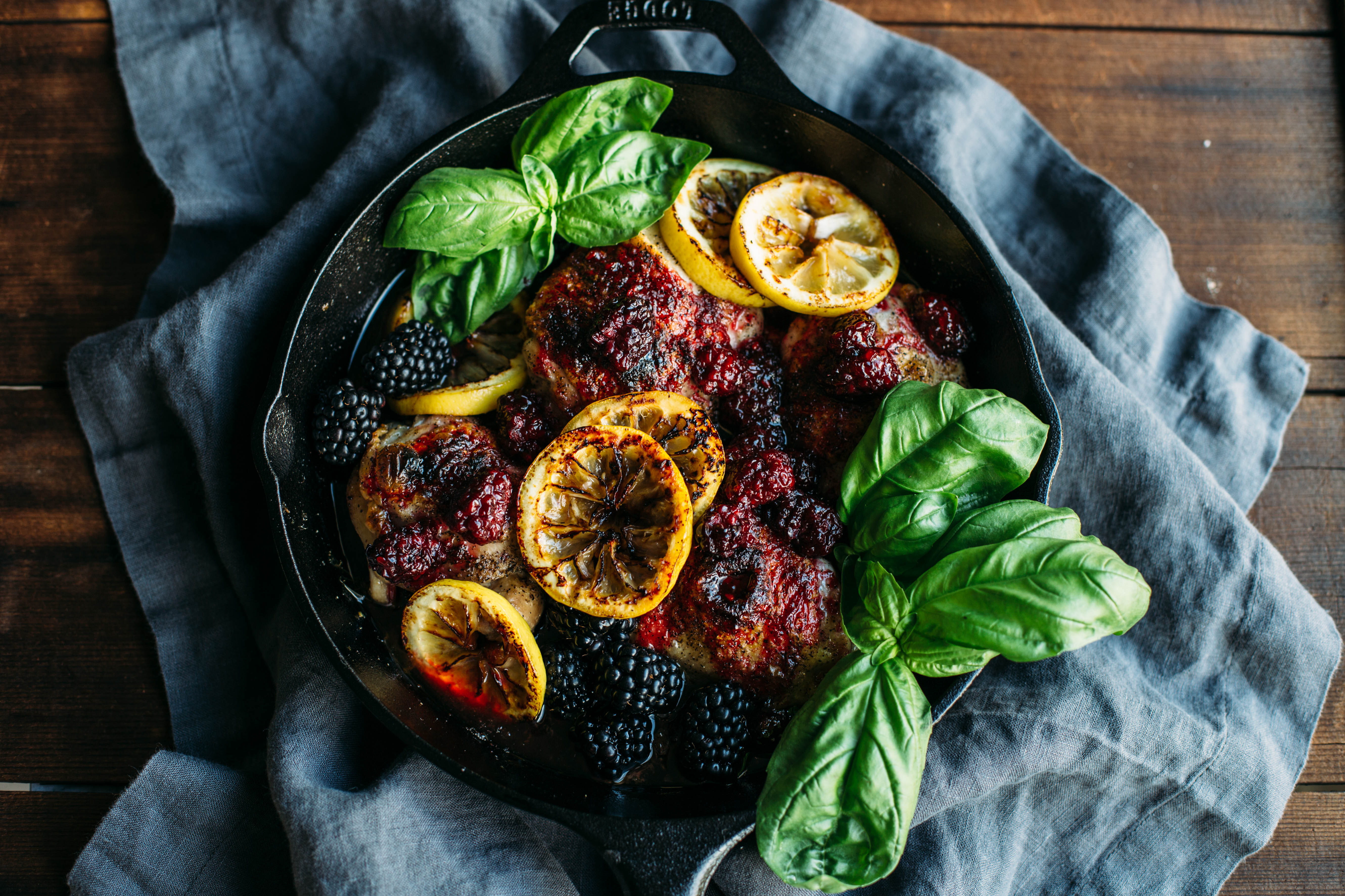 Blackberry & Lemon Glazed Chicken Thighs