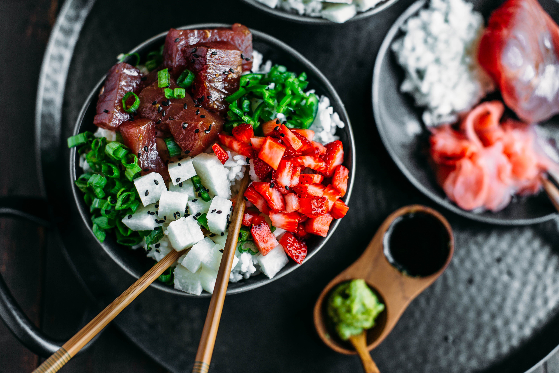 Strawberry + Tuna Poke Bowl