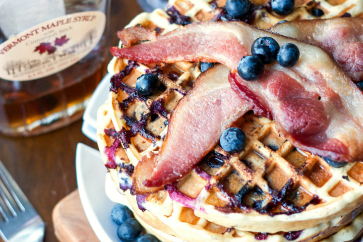 Blueberry-Bacon Belgian Waffles