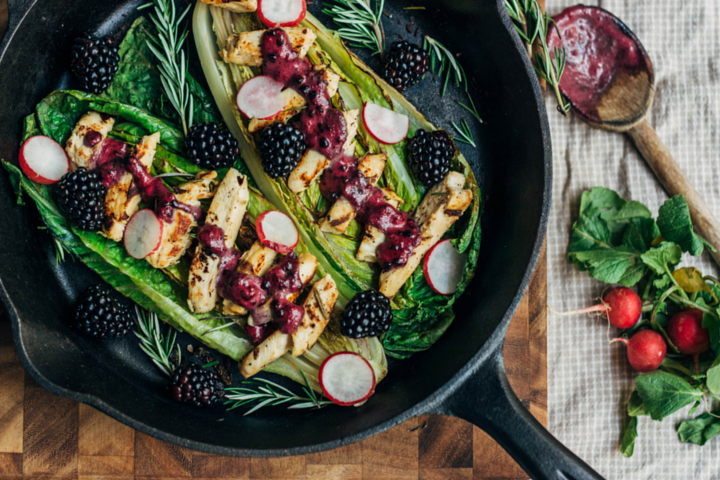 Grilled Romaine and Blackberry Salad