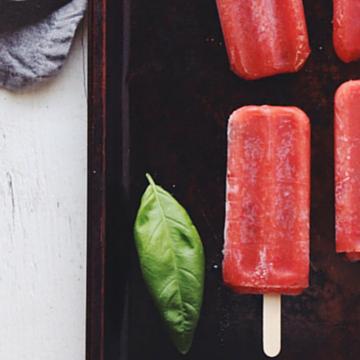 Strawberry Basil Popsicles