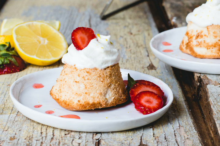 Mini Gluten-Free Angel Food Cakes with Strawberries and Lemon Cream