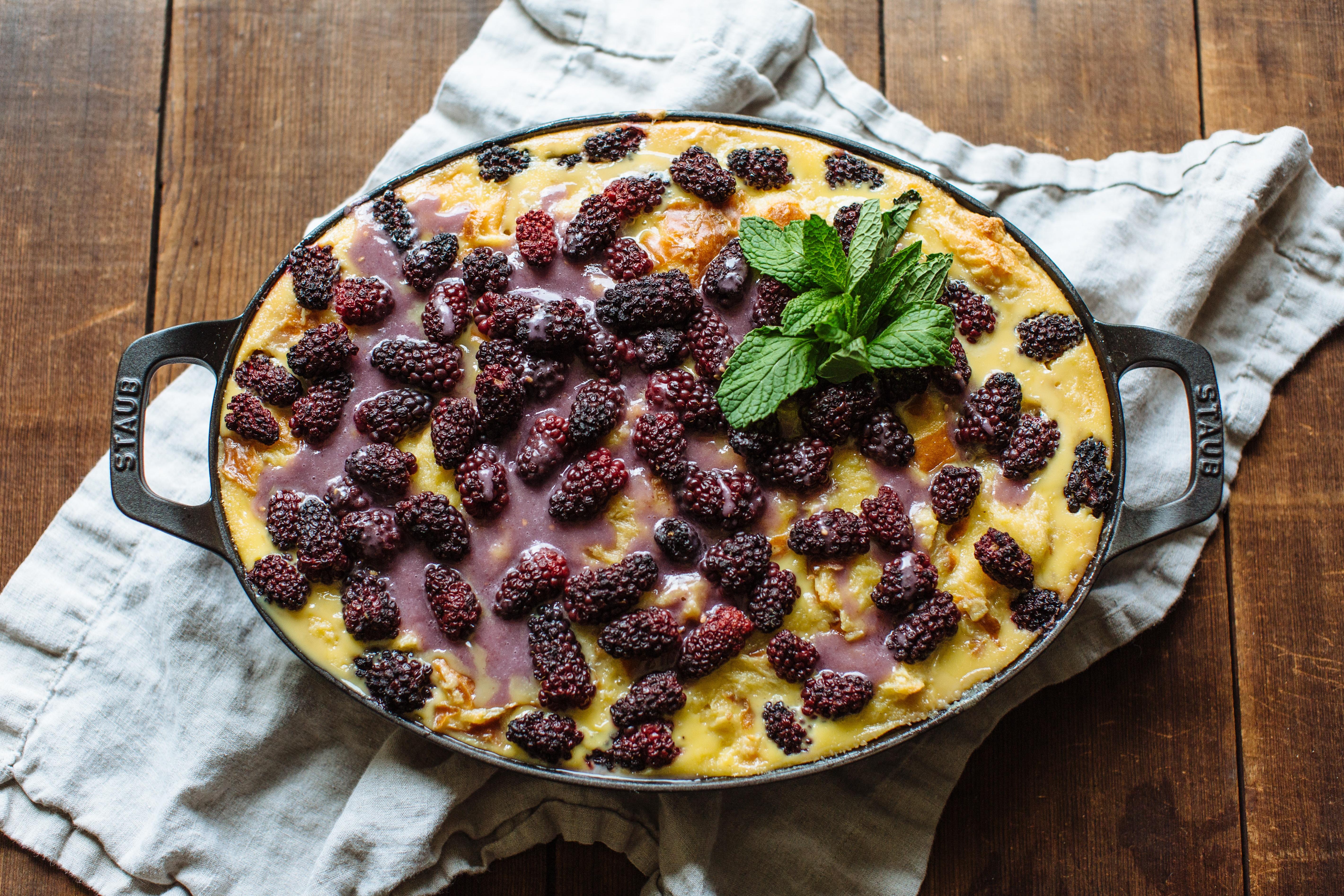Blackberry & White Chocolate Bread Pudding