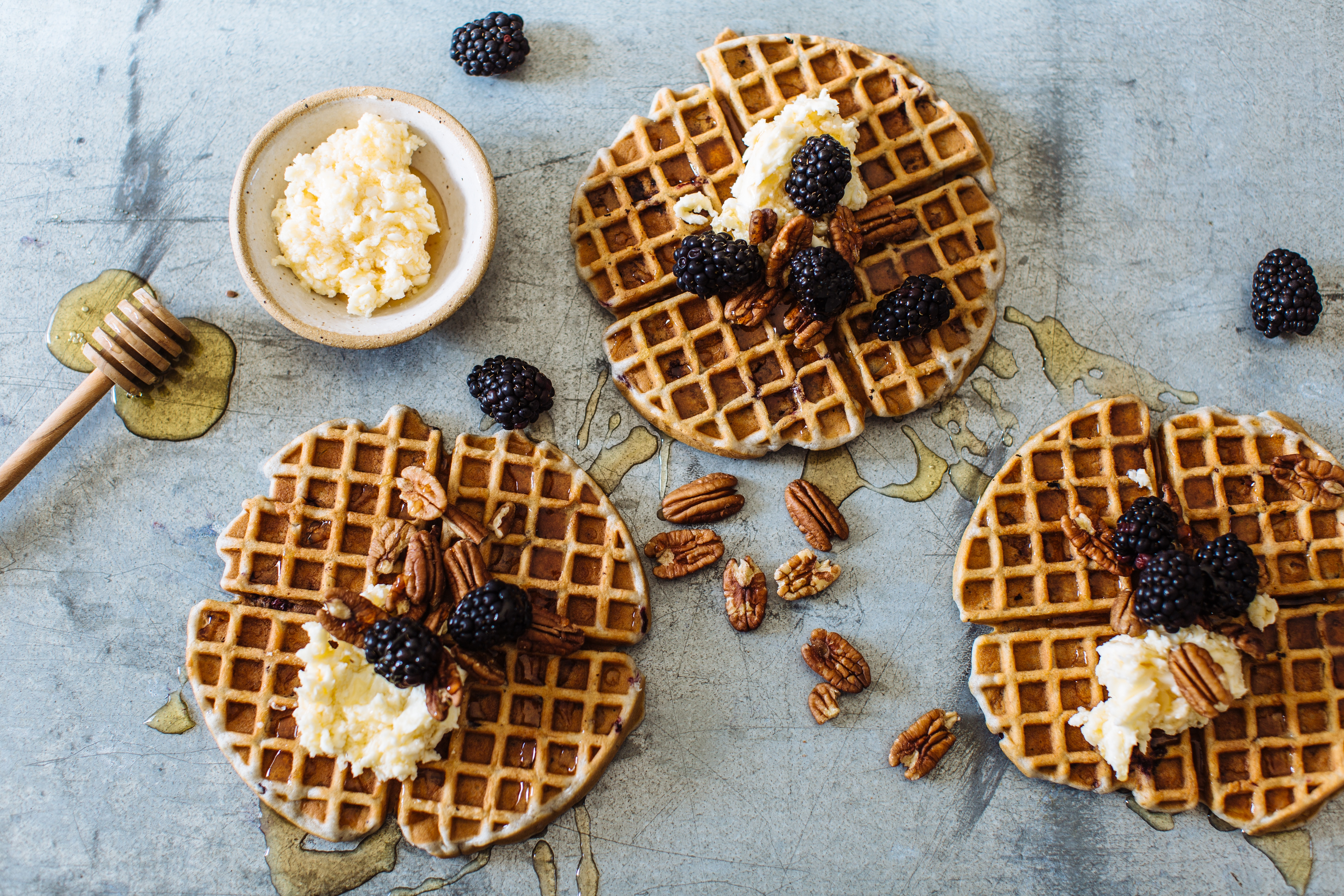 Blackberry & Pecan Belgian Waffles with Whipped Honey Butter