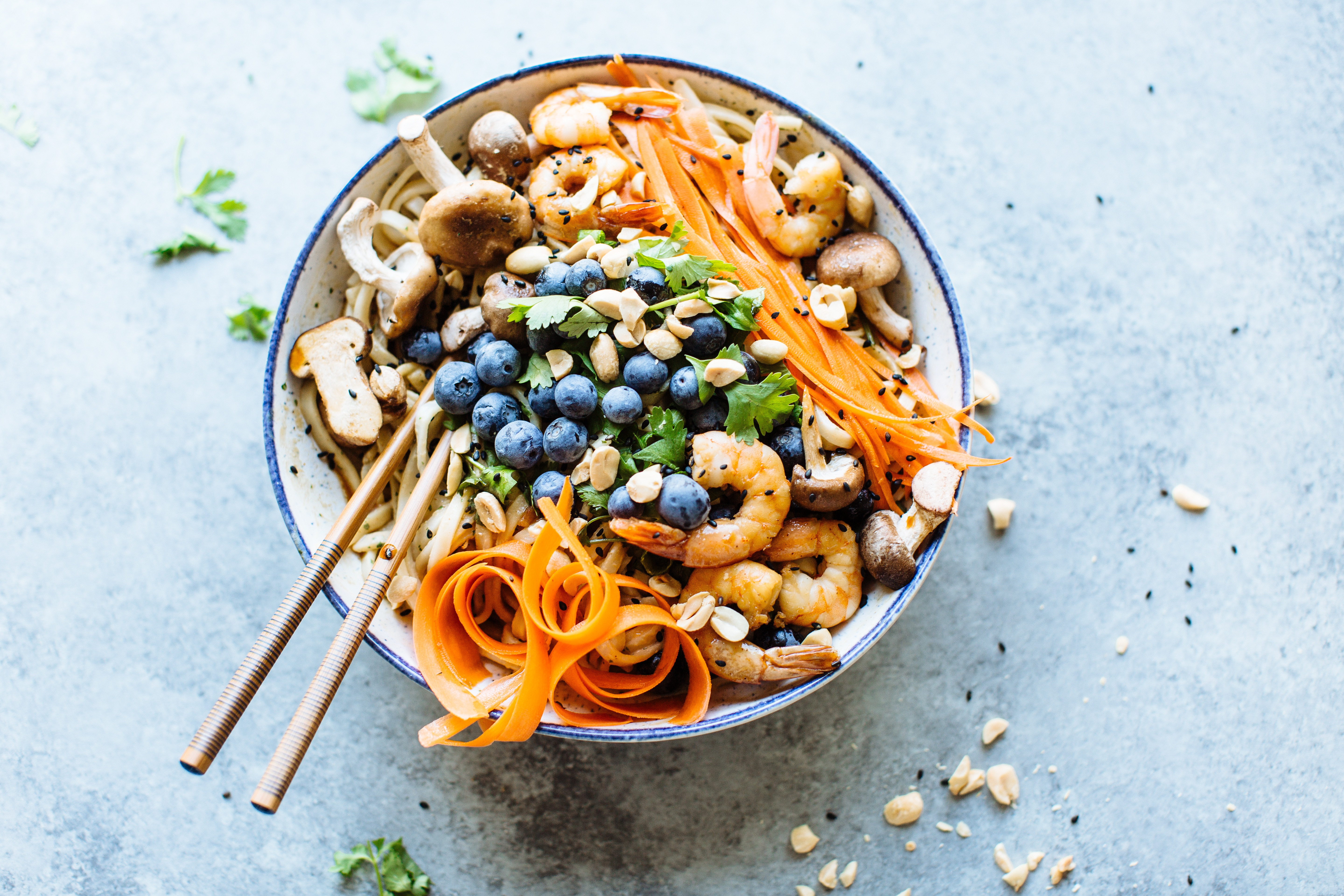 Thai Noodles with Blueberries & Peanuts