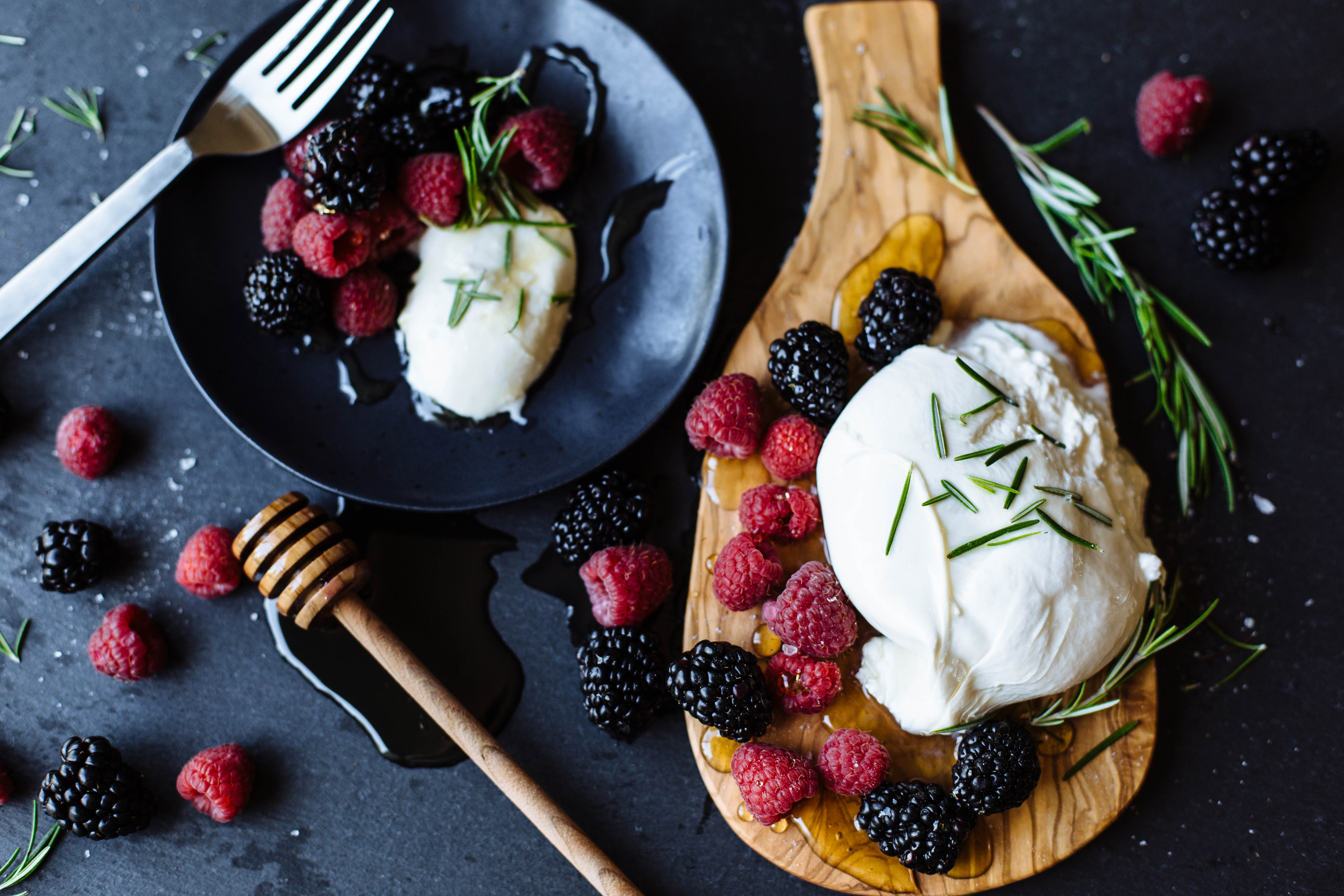 Burrata With Jalapeño Honey + Fresh Blackberries & Raspberries