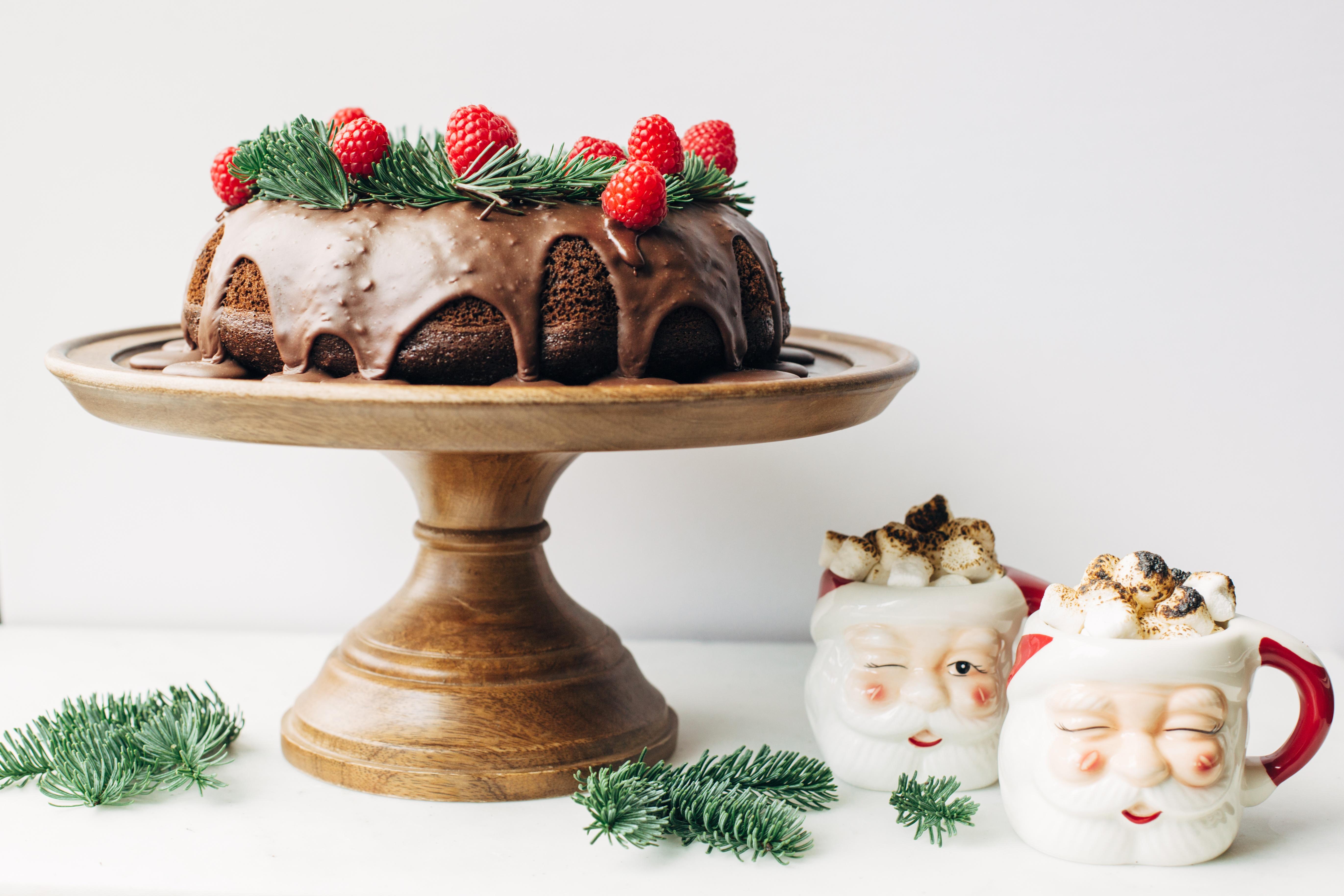 Chocolate Raspberry + Red Wine Wreath Bundt Cake