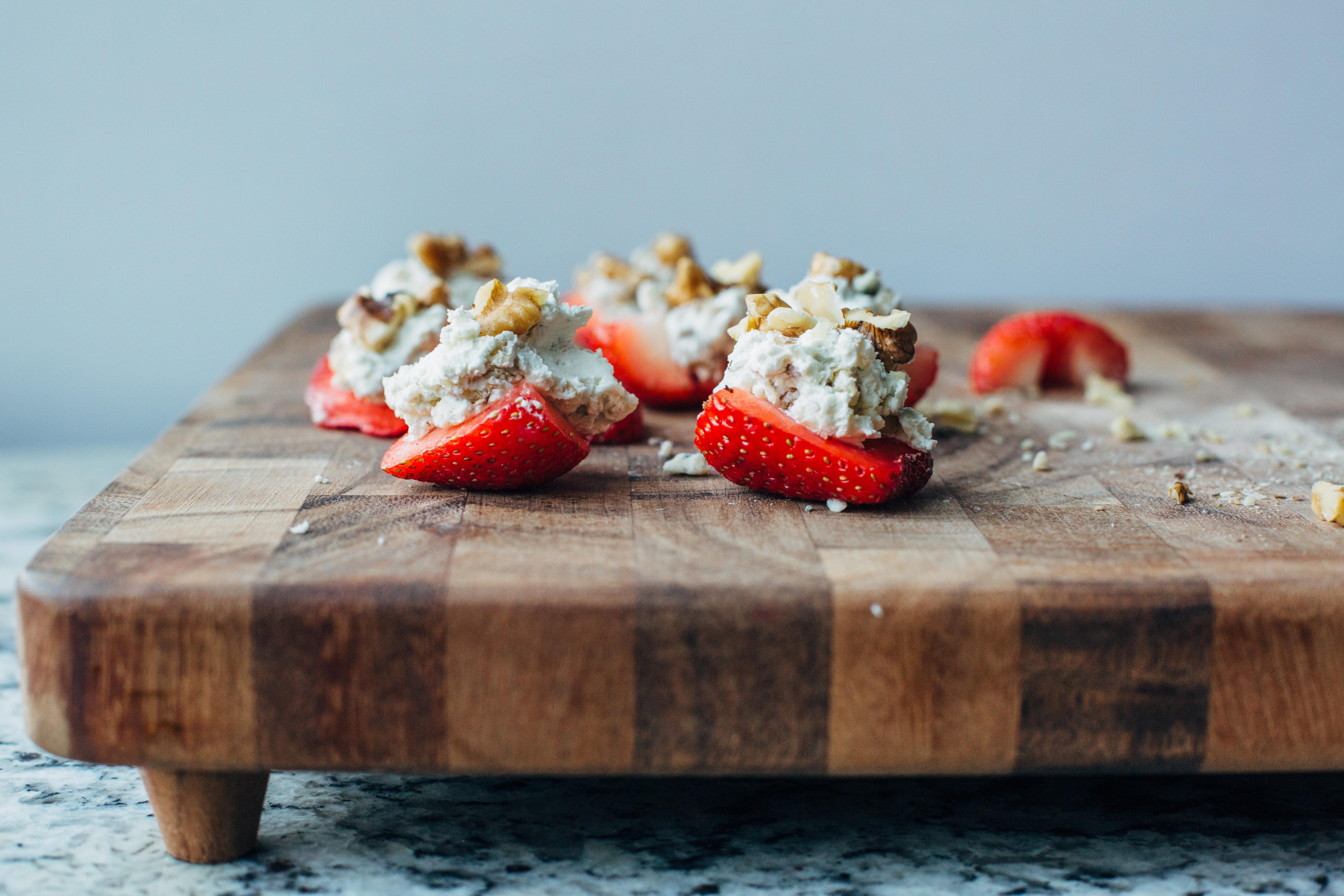 Blue Cheese & Walnut Stuffed Strawberries