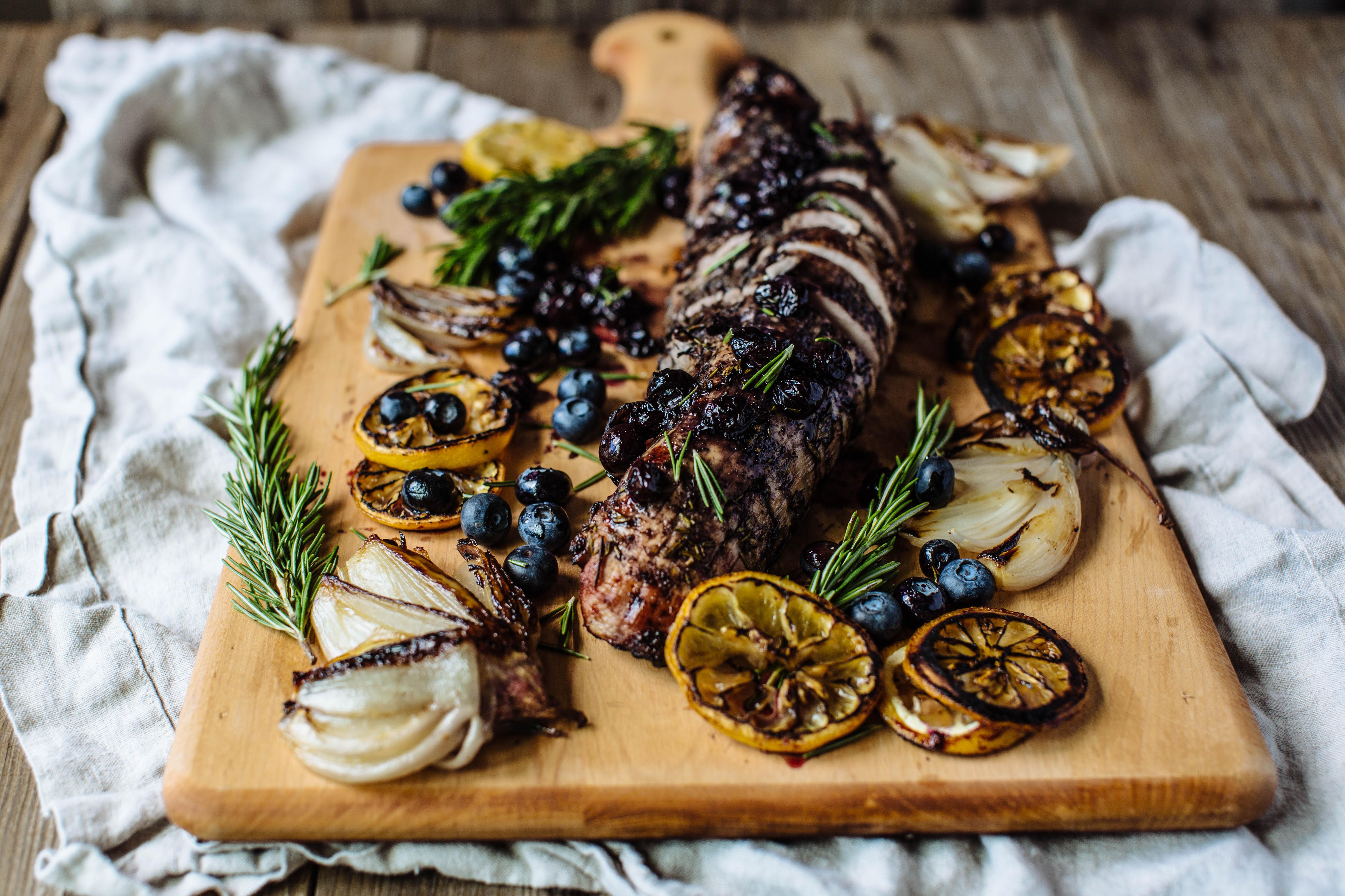 Blueberry + Rosemary Honey Glazed Grilled Pork Tenderloin