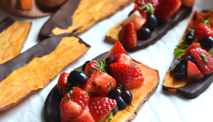 Chocolate Dipped Sweet Potato Toast with Strawberry Salsa