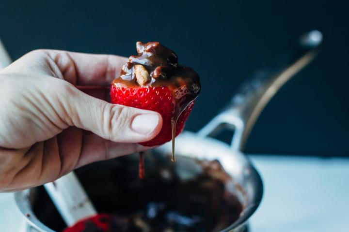 Chocolate Turtle Stuffed Strawberries