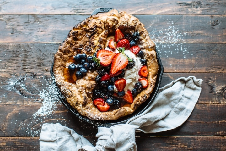 Sweet Potato Dutch Baby with Maple Soaked Berries