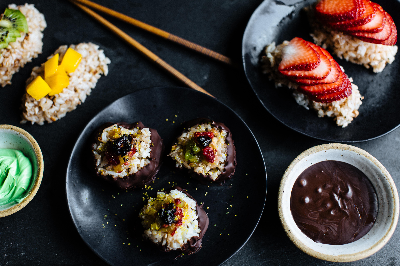 Strawberry & Toasted Coconut Sushi