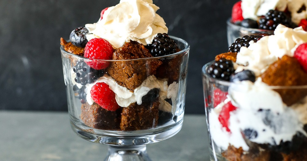 Paleo Gingerbread Mixed Berry Trifle