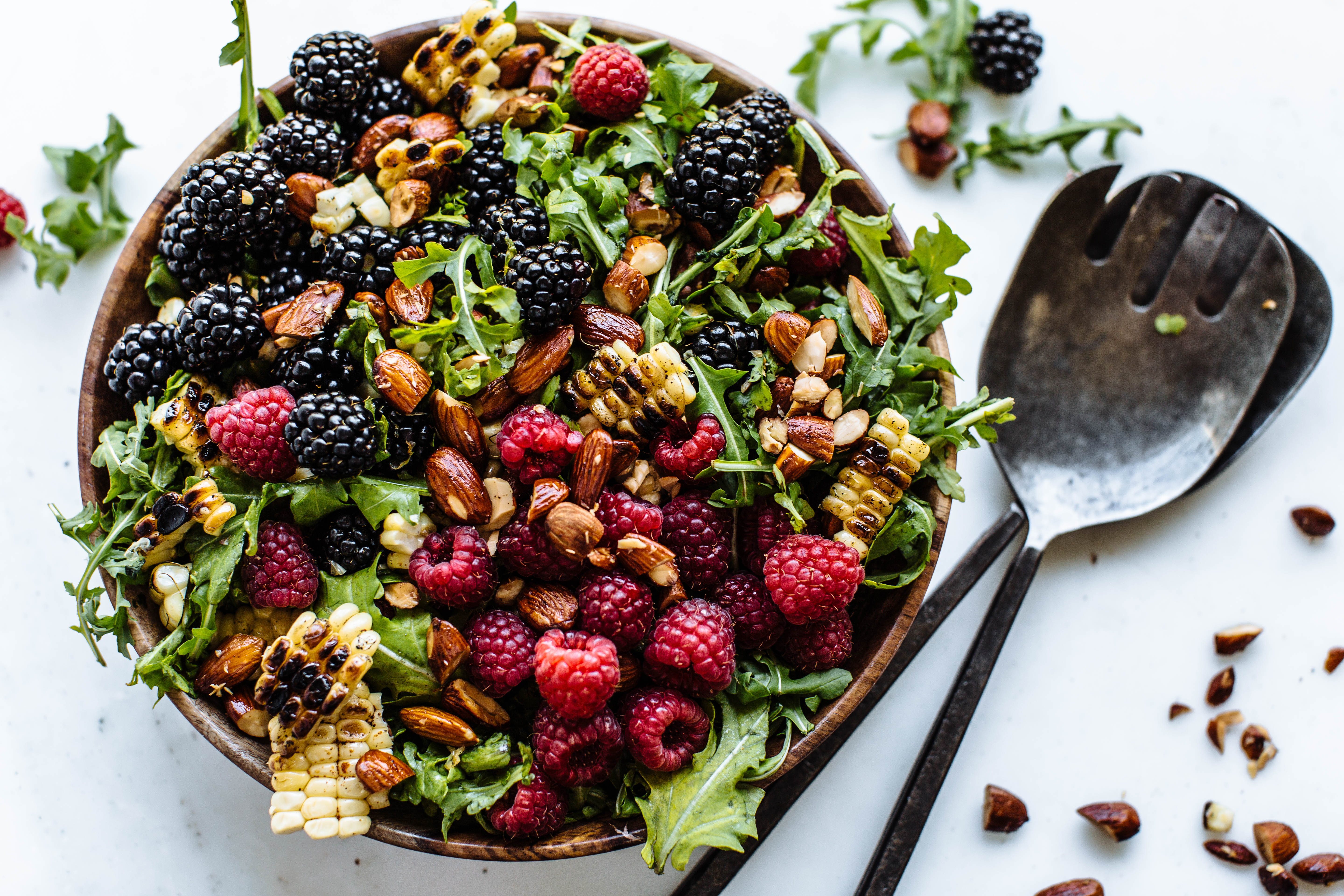 Chipotle Grilled Corn, Almond & Berry Salad