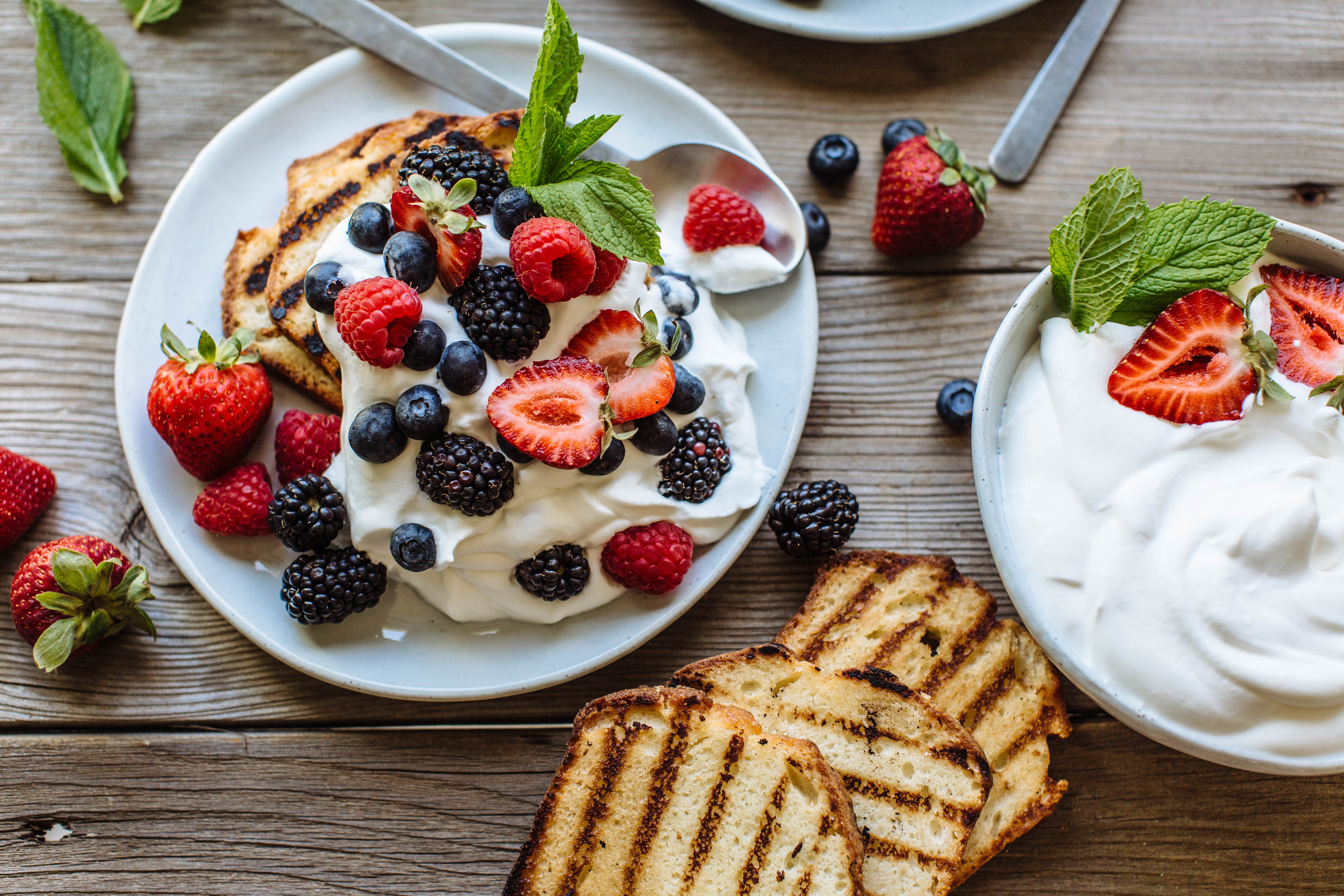 Grilled Pound Cake with Macerated Berries & Whipped Cream