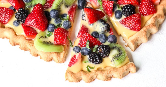 Paleo Fruit Tart with Lemon Curd