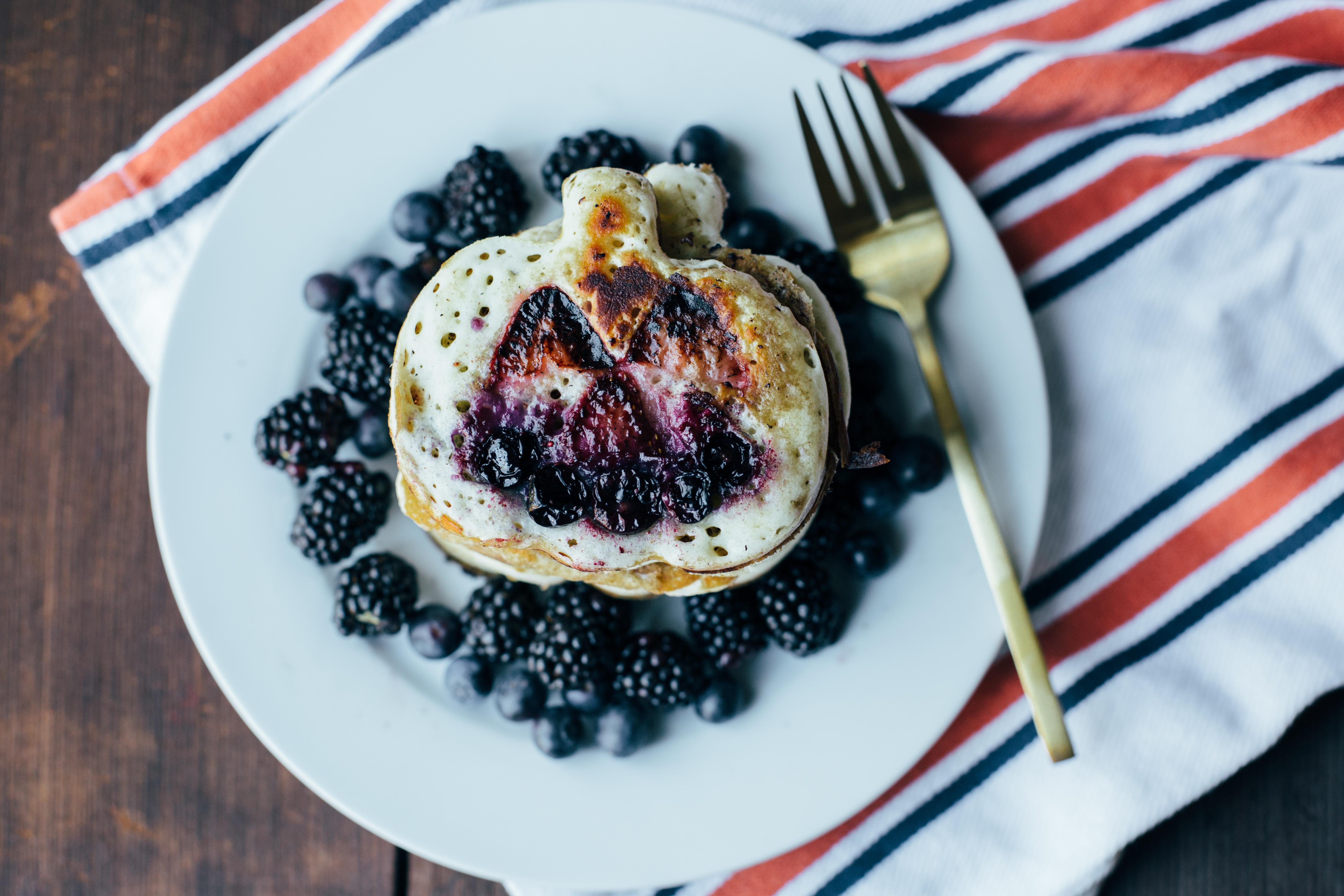 Jack O' Lantern Berry Buttermilk Pancakes