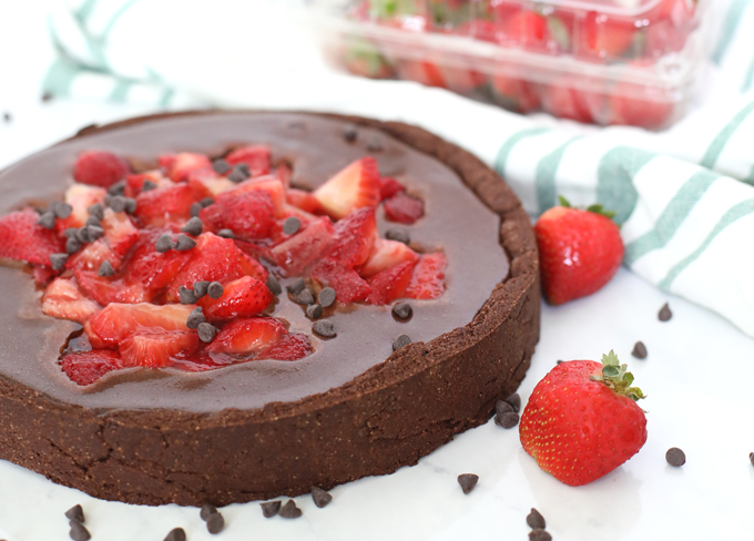 Strawberry Covered Flourless Chocolate Tart
