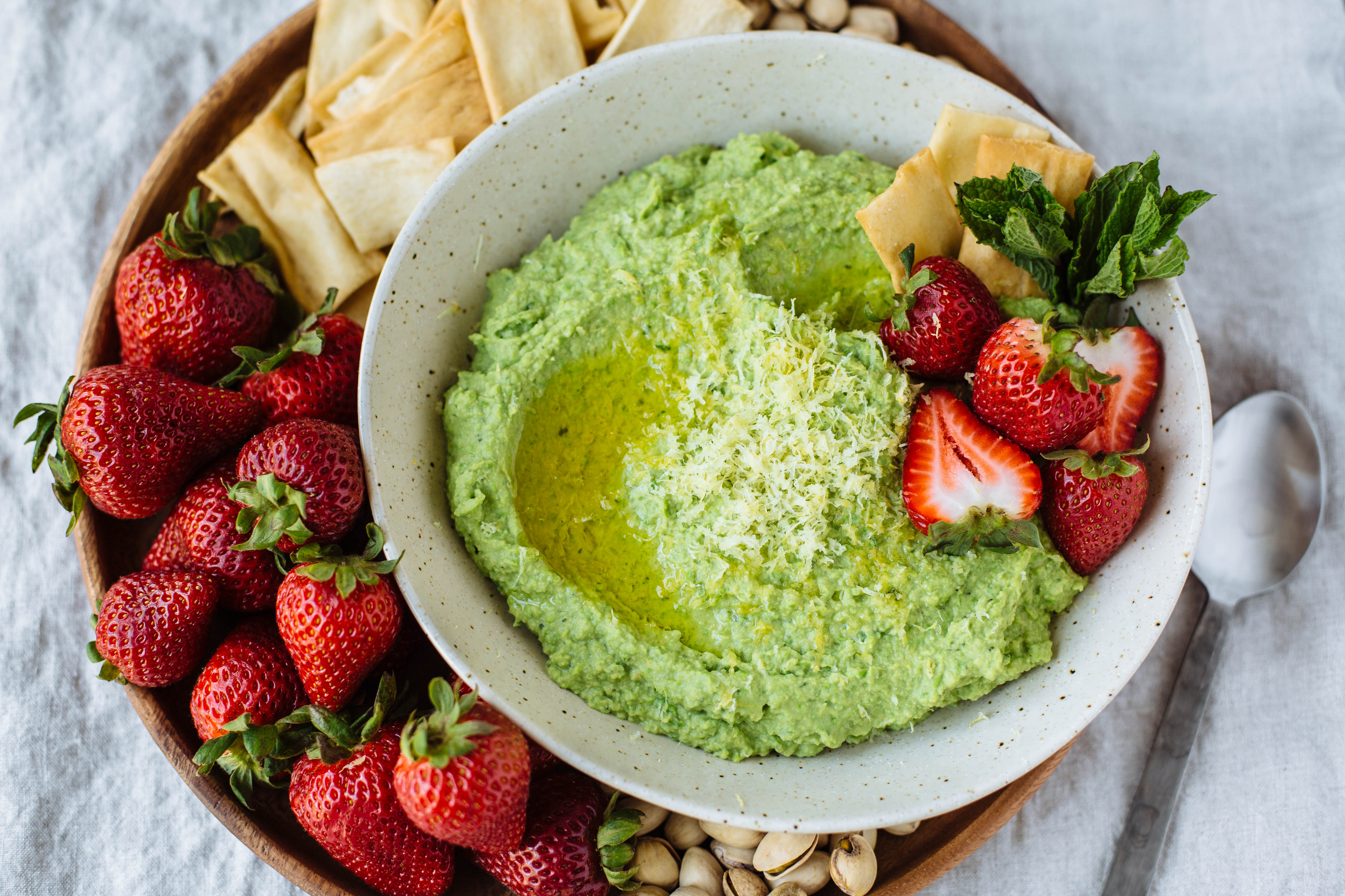 Sweet Pea Hummus + Strawberries