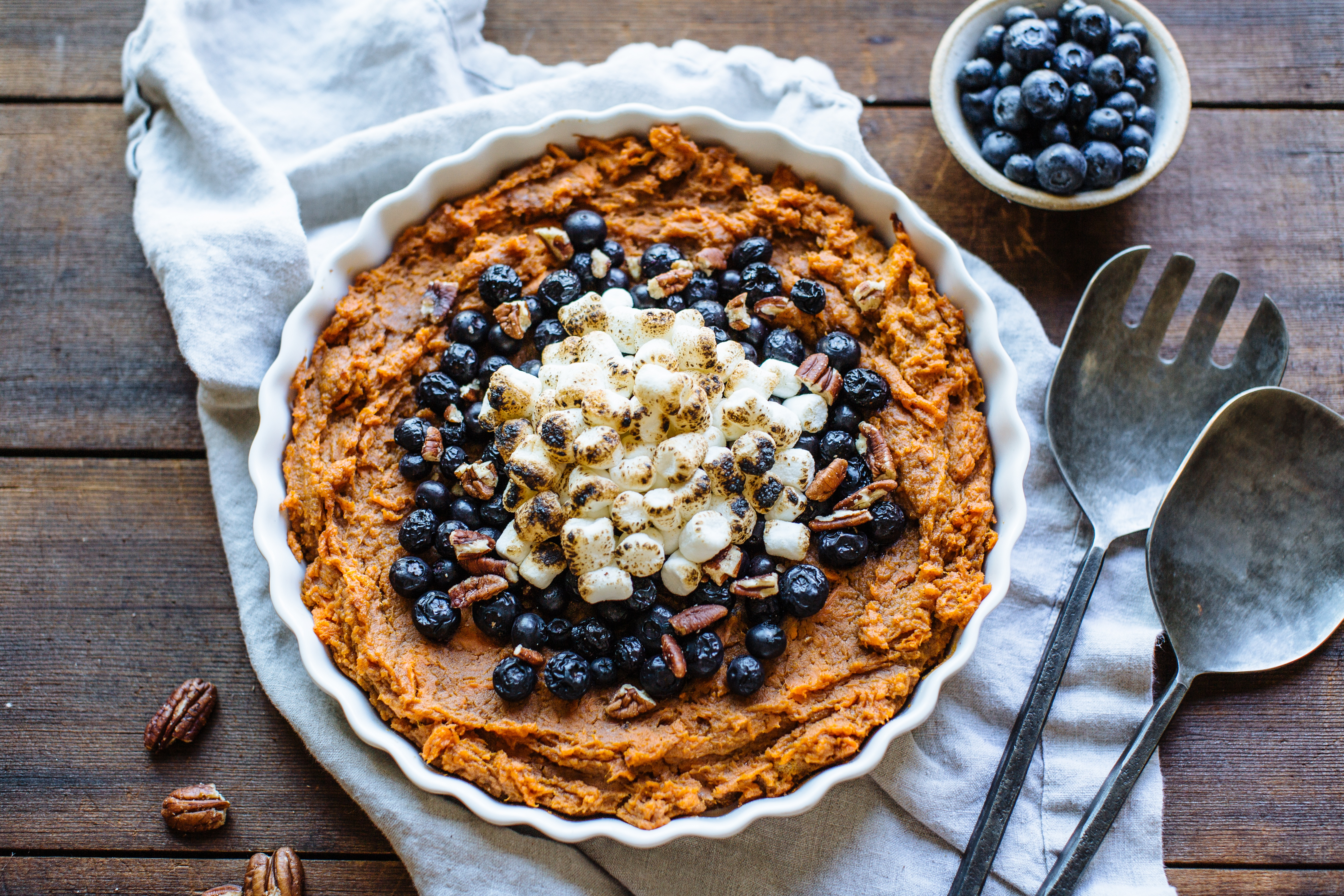 Sweet Potato Mash with Roasted Blueberries and Toasted Marshmallows