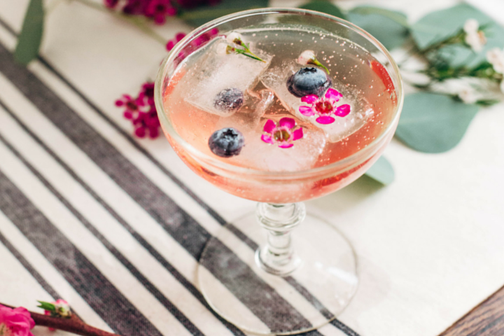 Berry Ice Cubes with Edible Flowers